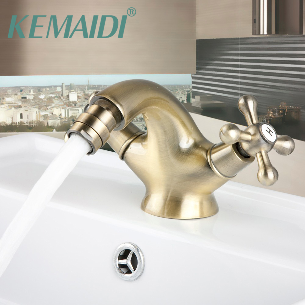 KEMAIDI Bathroom Faucet Goose Antique Inspired Solid Brass Bidet Faucet Brass Finished Bathroom Basin Faucet Mixer Tap kemaidi 3 pcs antique brass