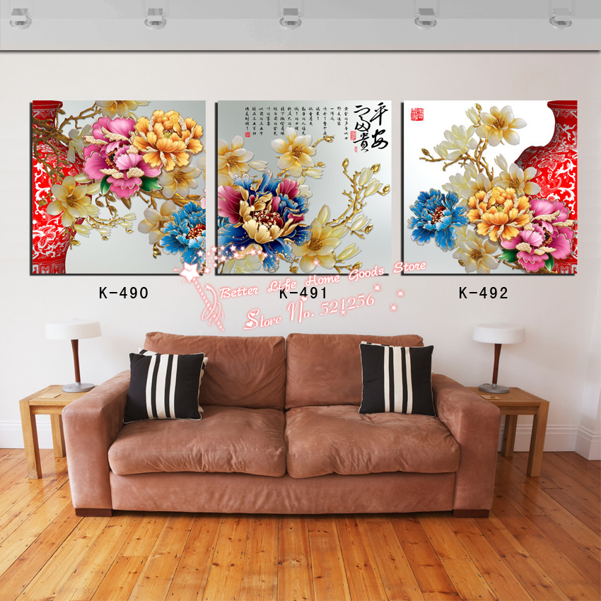 Modern <font><b>Home</b></font> <font><b>Decoration</b></font> Wall Art Printed Oil Painting Pictures No Frame 3 Panel <font><b>Asian</b></font> Art Paintings Chinese Peony Red Vase Prints