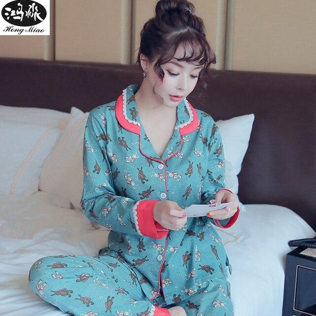 83da2748fb67 Women Pajama Sets 2018 Autumn Girls Cute Bear Printed Pajamas Suit Long  Sleeve Cute Cotton Long