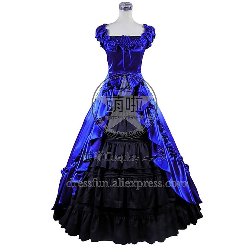 Renaissance Gothic Reenactment Dress Ball Gown Blue Dress Lolita fashion Dress Short sleeve Elegance Ruffles Decorated Halloween