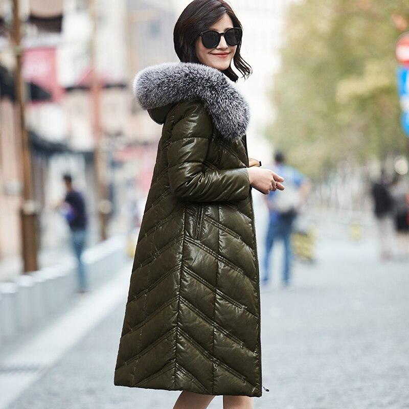 Warm Coat Duck Down black Hooded Fashion New Winter Leather Collar Black blackish Fur Jacket Green Grey Fox Fur 2017 Okb412 5xl Genuine Fur Women gray Parka Long Female q8vqYw