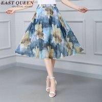 Été femme midi jupe 2017 nouvelle arrivée vintage imprimé floral évasée jupe mode coréenne style jupe taille haute NN0652 HQ