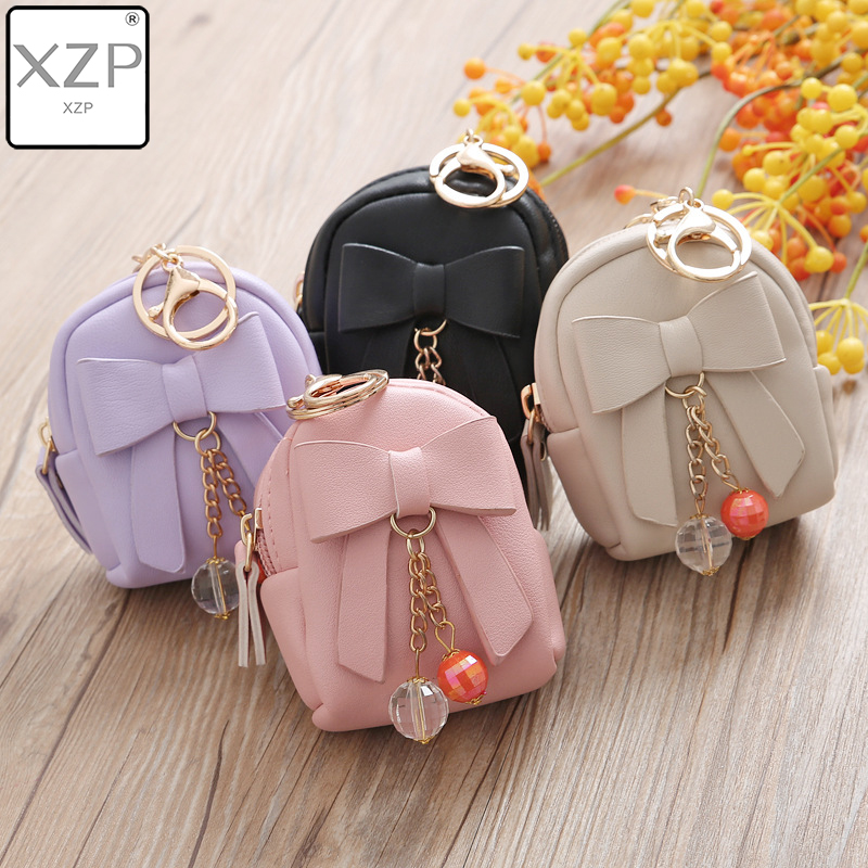 XZP Mini Coin Purse Key Chain Wallet Credit Card Holder Zipper Case Coin Change Purse Wallet With Key Ring Card Case Key Wallet