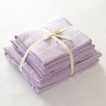 4pcs 100 cotton jersey knit duvet cover light purple stripe bed set with fitted sheet