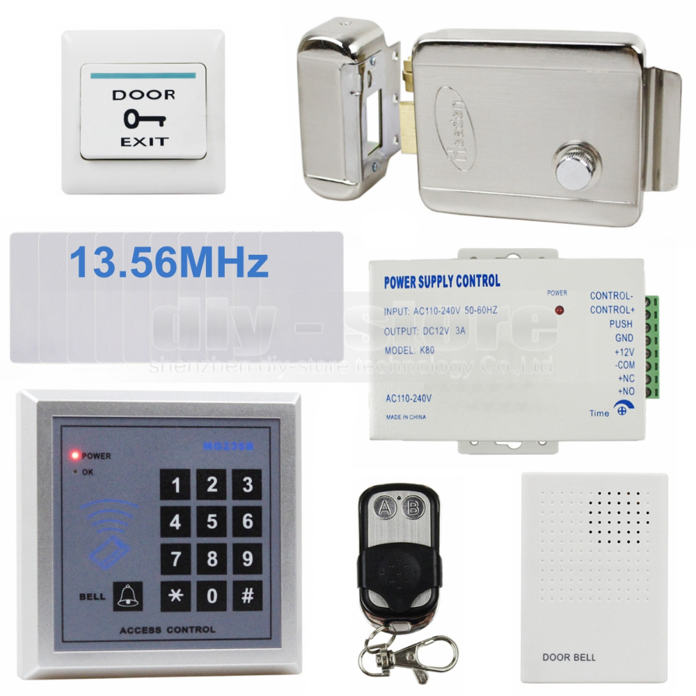 DIYSECUR RFID 13.56 MHz IC Card Reader Keypad Access Control System Security Kit + Electric Lock + Remote Control MG236B original access control card reader without keypad smart card reader 125khz rfid card reader door access reader manufacture