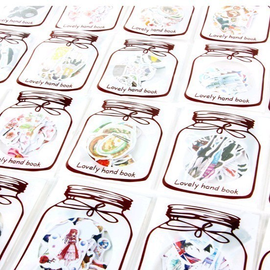 Creative Transparent Bottle Retro Girl Animal Diary Stickers Decorative Mobile Stickers Scrapbooking DIY Craft Stickers