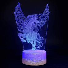 NEW 2019 unicorn 3D table Light Acrylic Plate 16 Colors Changing LED Desk Table Lamp 3D Illusion Lamps girl Gifts acrylic 7 colors changing animal horse led nightlights 3d light led desk table lamp usb 5v lamps for home decoration