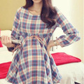 Roupas de maternidade 2016 mulheres grávidas nova primavera moda outono casaco xadrez mulheres grávidas grandes estaleiros vestido de Maternidade roupas