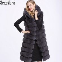 Free Shipping Hot New High Quality Faux Fur Warm Coat 2017 Fashion Winter Women Hooded Sleeveless