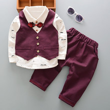 BibiCola baby boys clothes set 3pcs outfits autumn toddle children's wedding clothing vest gentleman formal moustache clothes
