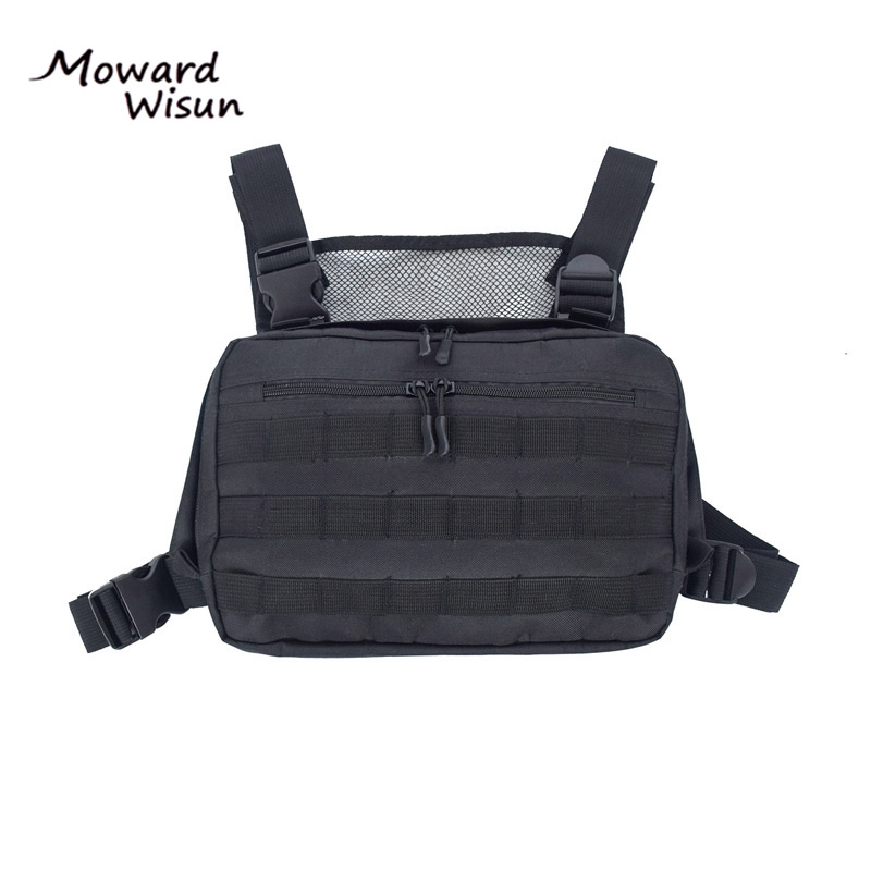 Hot Black Men Chest Bag Adjustable Oxford Tactical Chest Rig Hip Hop Streetwear Functional Shoulder Bag Waist Packs Kanye West