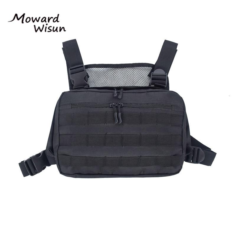 Hot Black Men Chest Bag Adjustable Oxford Tactical Chest Rig Hip Hop Streetwear Functional Shoulder Bag Waist Packs Kanye West