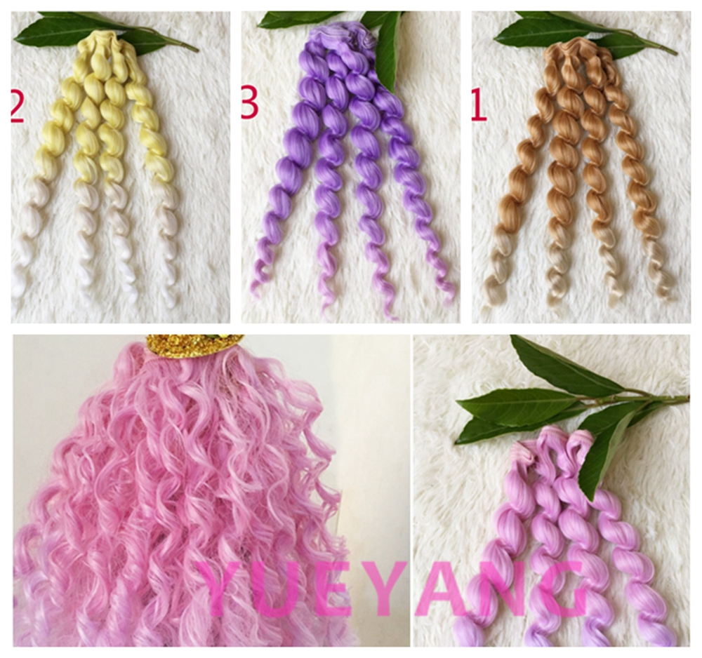 25*100CM Colorful Curly Wavy Doll Accessories DIY Doll Wigs For Barbie Doll For 1/3 1/4 1/6 BJD SD  Handmade Dolls Hair 8 colours colorful curly hair party cosplay long wavy wigs