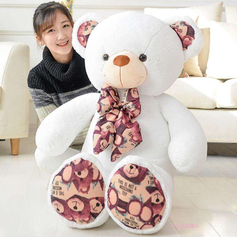 100cm Teddy bear doll plush toys print hugs Giant teddy bears Stuffed birthday gifts kawaii 140cm fashion stuffed plush doll giant teddy bear tie bear plush teddy doll soft gift for kids birthday toys brinquedos