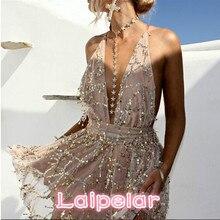 2018 New Arrivals  sexy dresses women Backless halter Black Gold mini dress party tassel Summer club wear Laipelar