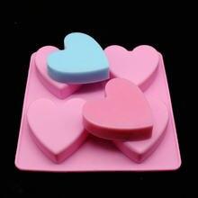 Diy 4 с отверстиями в форме сердца силиконовые формы для мыла