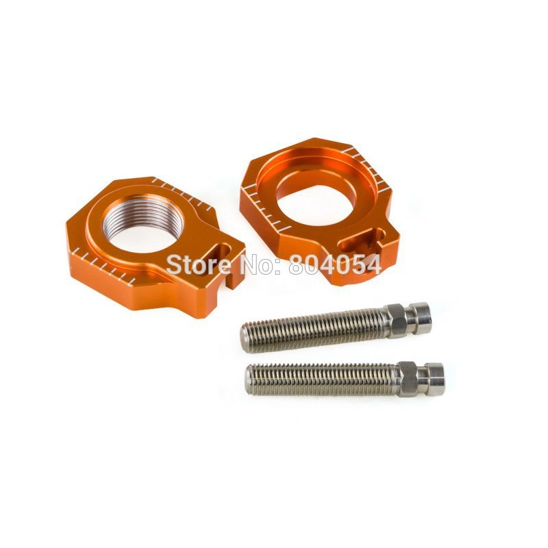 CNC Rear Axle Blocks Chain Adjuster For KTM 125 250 350 450 SX/SX-F/XC/XC-F 2013 2014 2015 billet cnc rear brake disc guard w caliper bracket for ktm 125 450 sx sx f smr xc xc f 2013 2014 2015 2016
