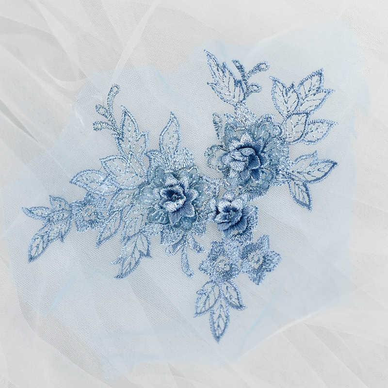 2 piezas de color 3D flor encaje apliques bordado Material adorno para DIY vestido de novia velo Accesorios