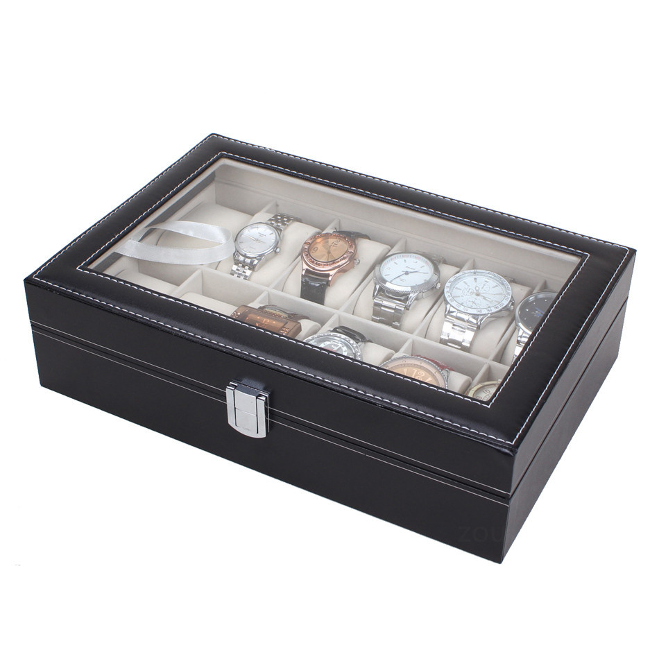 12 Slot Watch Collection Box Transparent Glass Cover Wood Leather Luxury Watches Display Box Meter Box