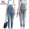 TC Mulheres Macacão Jeans jumpsuit 2016 Primavera Outono Ocasional Rasgado Buraco Calças Soltas Rasgado Bolsos Das Calças de Brim Macacão XL 2XL WT00194