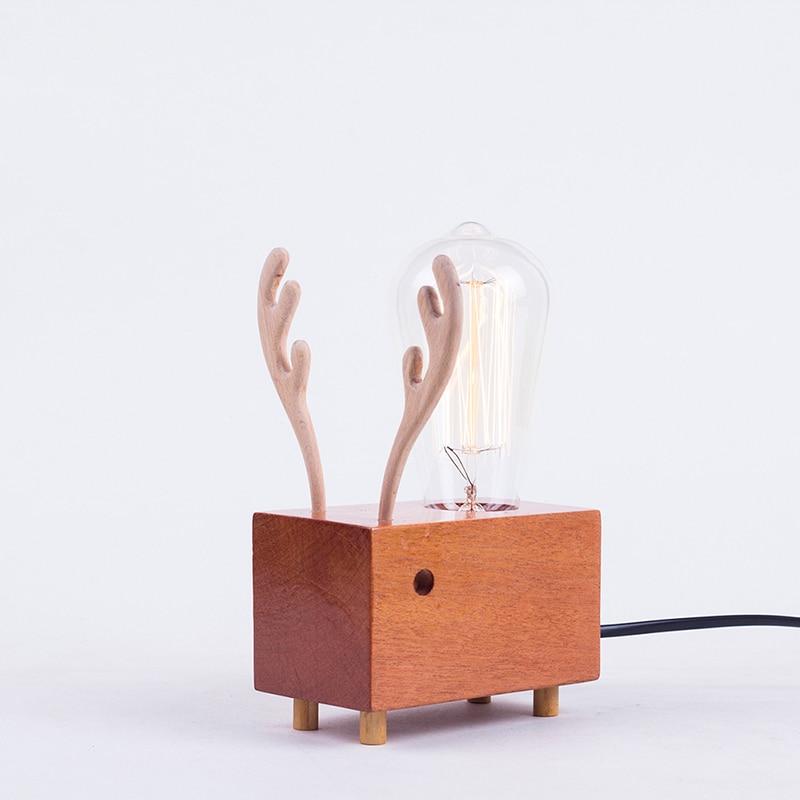 Pleasing Edison Bulbs Wooden Shade Handmade Creative Oak Wood Led Night Table Lamp Desk Lighting Christmas Reindeer Gifts Diy Desk Light Download Free Architecture Designs Viewormadebymaigaardcom