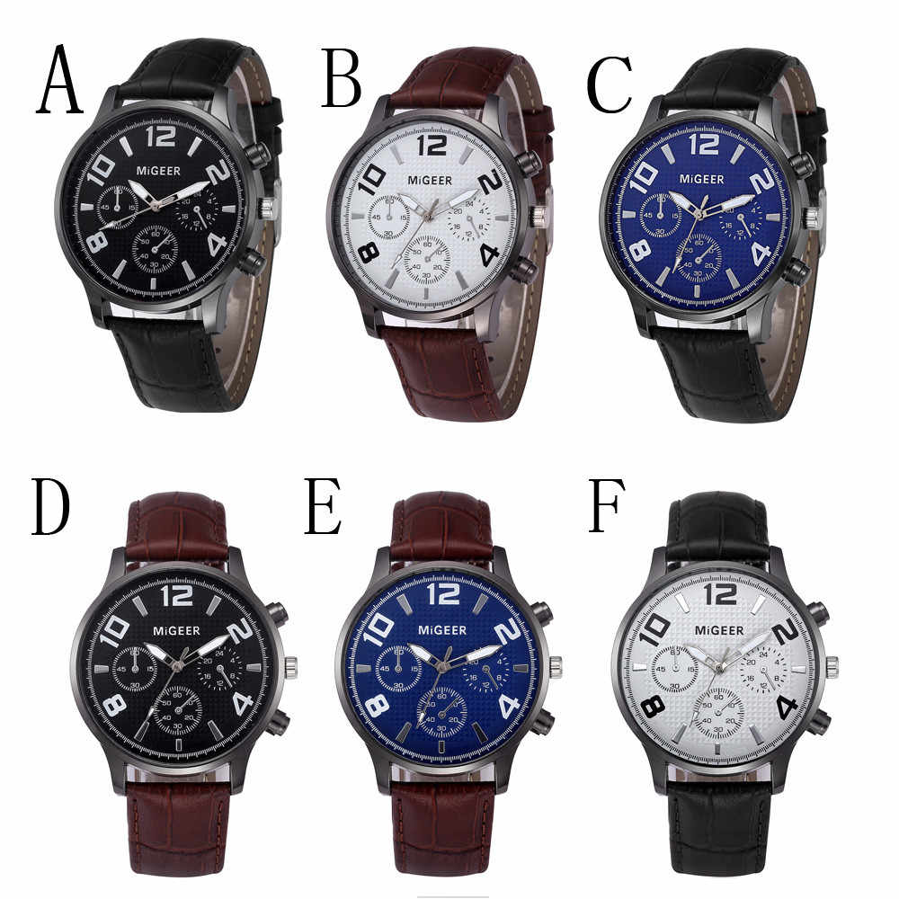 MIGEER นาฬิกาผู้ชายหรูหราหนัง Band Analog QUARTZ นาฬิกาข้อมือนาฬิกาผู้ชายนาฬิกา relojes hombre 2020 erkek Kol saati