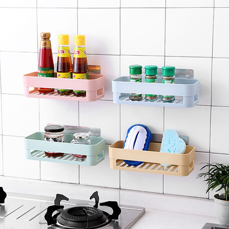 Punch-free Bathroom Shelf Plastic Toilet Bathroom Vanity Wall Hanging Bathroom Storage Rack Basket No Trace Stickers Rack