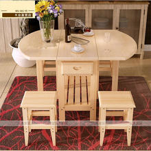Semi-Circle Foldable Coffee Dining Table With Two Chairs (NO Drawers) Pine Solid Wood Living Room Furniture(China)