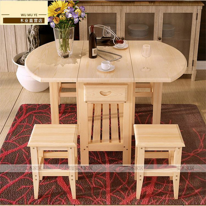 semicircle foldable coffee dining table with two chairs no drawers pine solid wood living room furniture - Cheap Dining Tables