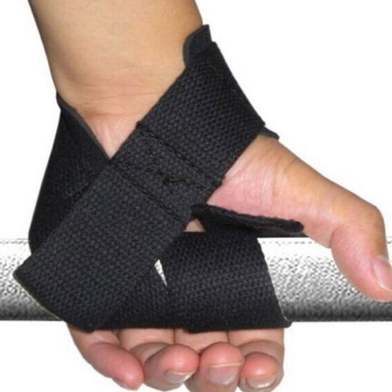 2x Gym Strength Training Strap Glove Hand Wrist Bar Support Bandage Black Orange