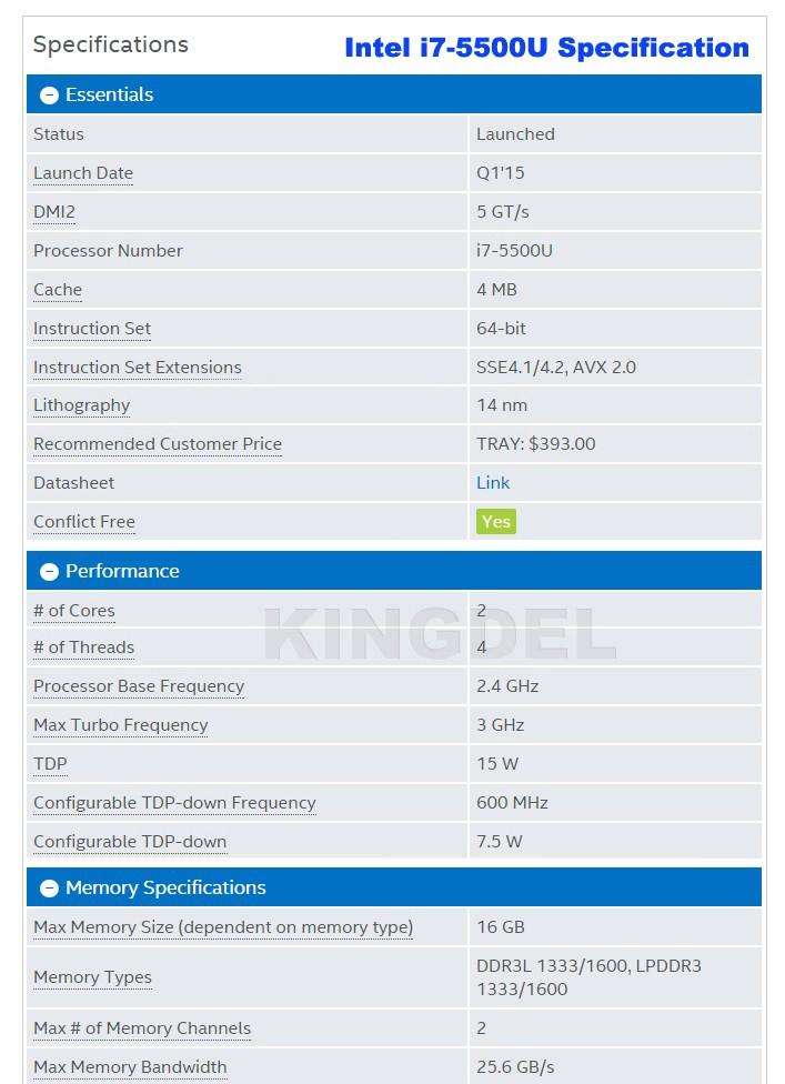 i7-5500U Specification-1