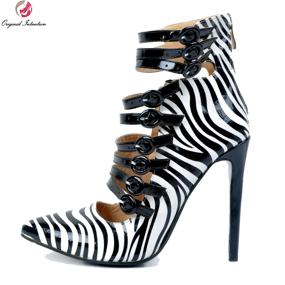 Original Intention New High-quality Women Pumps Fashion Pointed Toe Thin Heels Pumps Elegant Zebra Shoes Woman Plus US Size 4-15 lakeshi new fashion pumps thin sexy high heeled shoes woman pointed suede hollow out bowknot sweet elegant women shoes