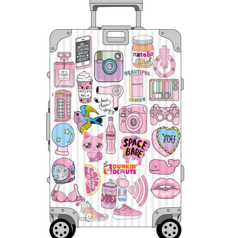 Aliauto 50 ชิ้น/แพ็คแฟชั่นสาวสีชมพู Graffiti สุ่มสติกเกอร์รูปลอกกระเป๋าเดินทางแล็ปท็อปสเก็ตบอร์ดหมวกกันน็อครถจักรยานยนต์