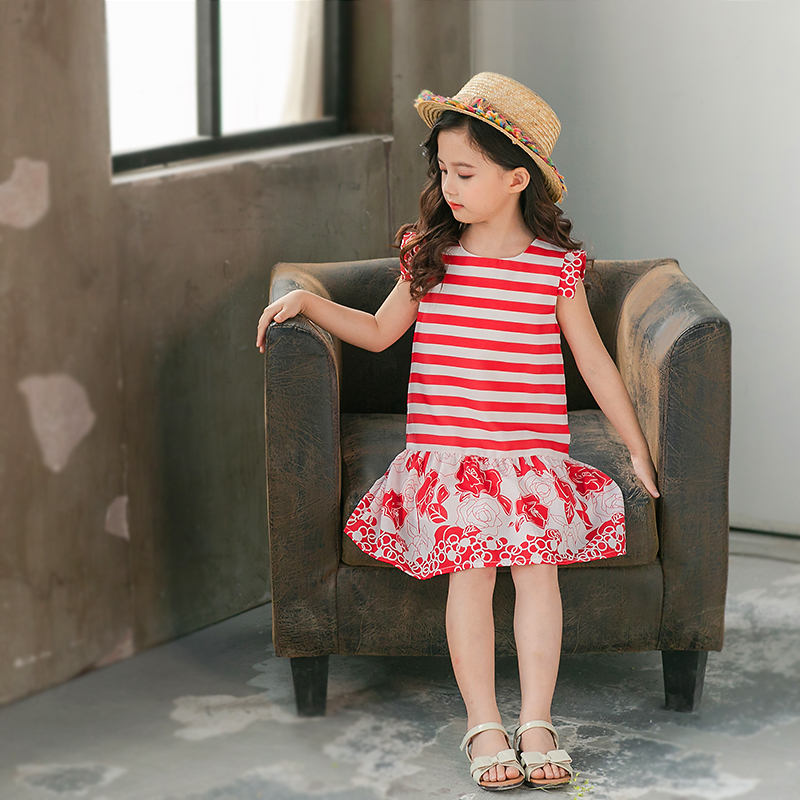 Summer mum baby clothes family matching outfits kids mom girls red striped flower cotton patchwork dress mother daughter dresses vertical striped patchwork expansion maxi dress