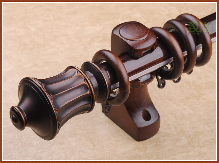 new arrival luxury classical 30mm wood curtain rods diameter 200cm length single curtain rods for living