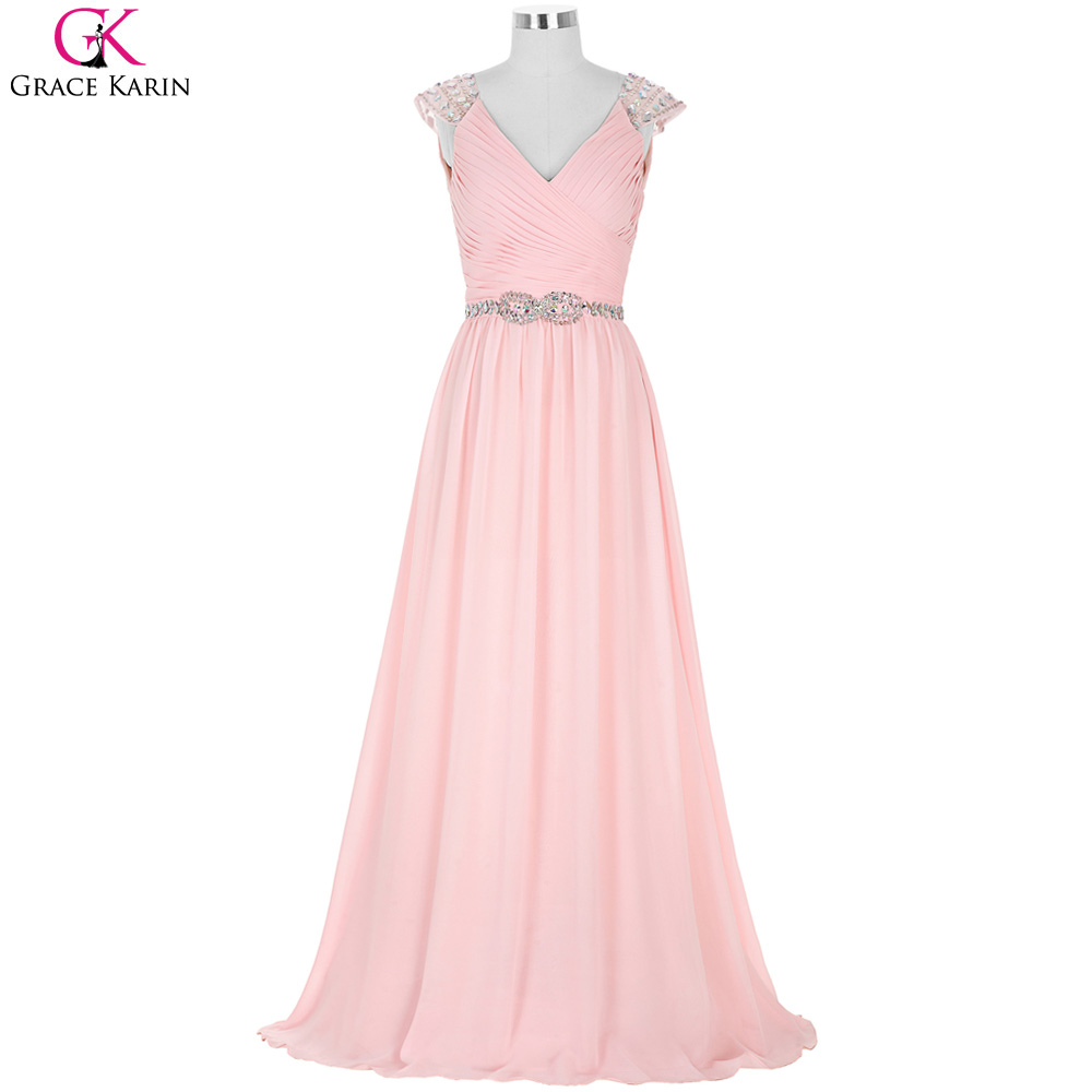 New Pink Chiffon Long Bridesmaid Dresses Grace Karin Sexy V Neck Beaded A Line Capped Sleeve