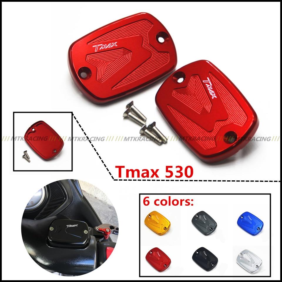 MTKRACING Pair Motorcycle accessories Motorbike Brake Fluid Tank Cap Cover For YAMAHA TMAX 530 2012-2014  tmax 500 2008-2011
