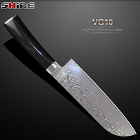 SHINE 7 Inch Damascus Santoku Knife Japanese VG10 Stainless Steel Damascus Kitchen Knife 67 Layers Steel
