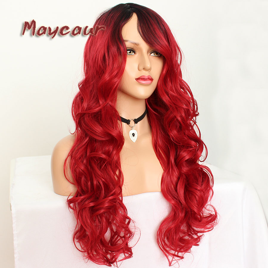 Maycaur Glueless Black Long Wavy Wig with Side Bangs Synthetic Hair Wigs for Women Heat Resistant Fiber Hair Wigs (13)