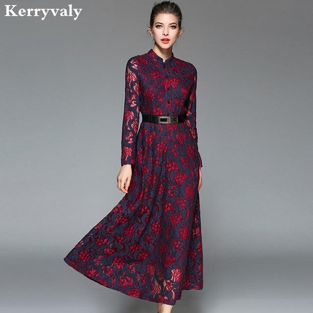 8f089258f58 Women Retro Jacquard Lace Maxi Dress Robe Hiver 2019 Vestido Longo Vintage  Big Swing Long Evening