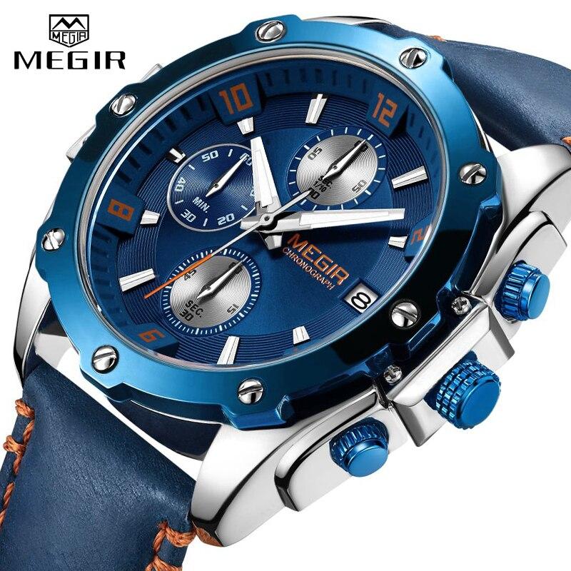 Men's Army Military Wrist Watch MEGIR Men Luxury Blue Watch Leather Sports Watches Mens Business Waterproof Quartz Clock Relogio