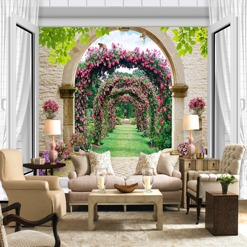 European Style 3D Window Spatial Extension Arches Flower Vine Small Road Mural Wallpaper Living Room Background Photo Wall Paper