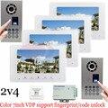 "2v4 Waterproof(IP65) Fingerprint Fecognition Unlock 7"" Color Video Door Phone Intercom Door Bells Kit IR Night Vision Camera"