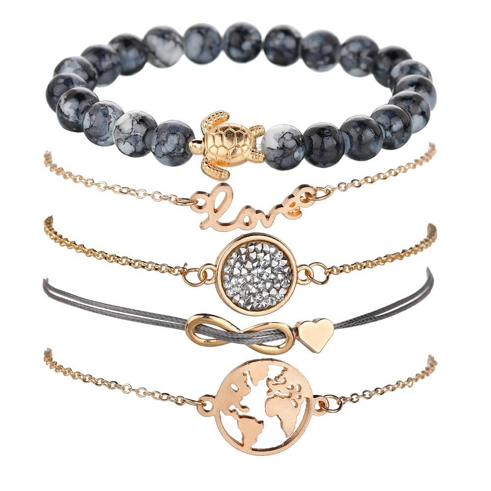 KingDeng 5/lot Love Letter English Love World Map Turtles Bowknot Beaded Beads Bracelet For Women Gold Bracelet Mk Watch Boho