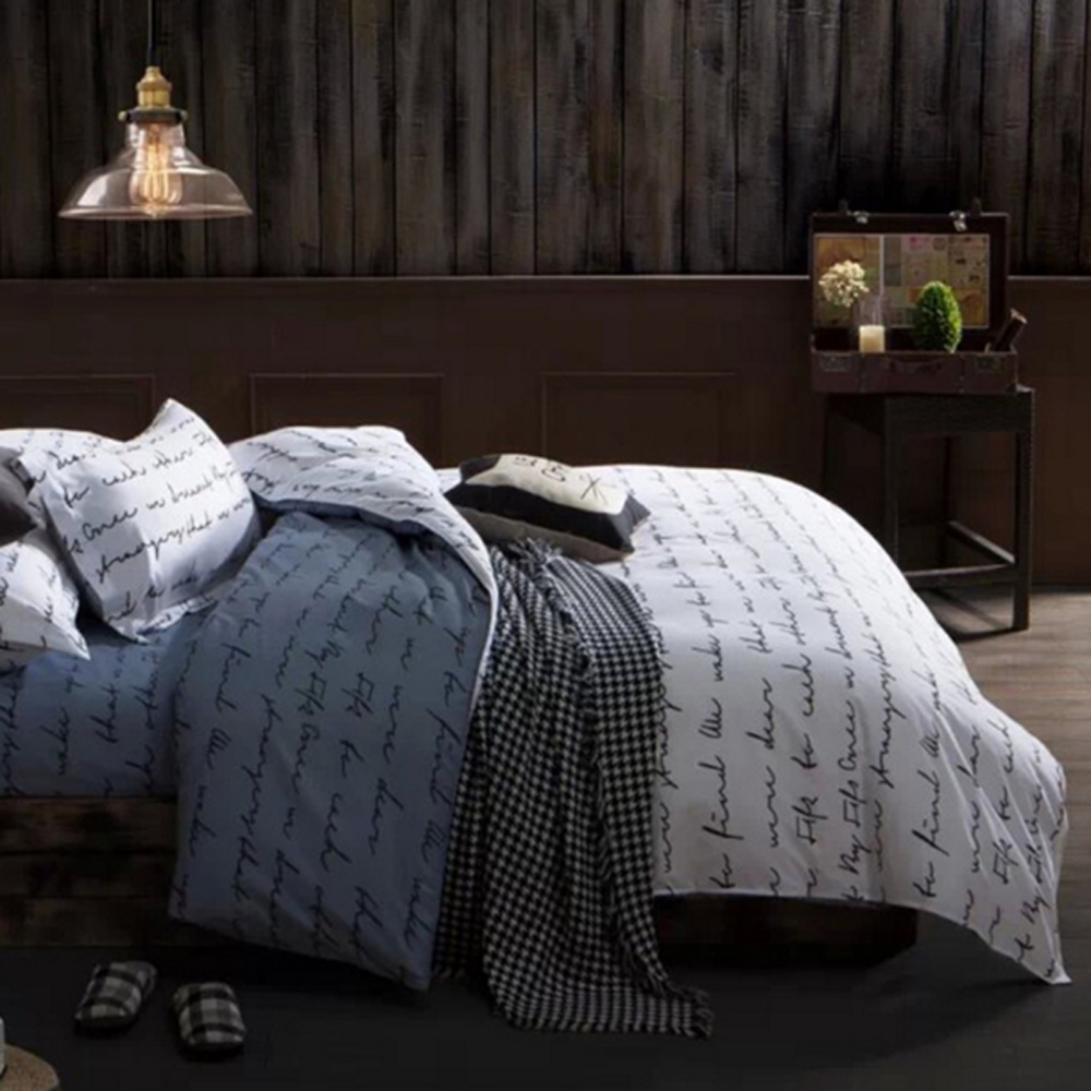 Printed Bedding Set 3 Pcs Duvet Cover Sets Letters Bedding Set With Bed  Cover Amd