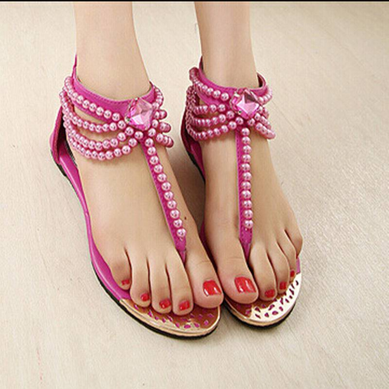 929e26392 Shoes Woman Nice Summer Shoes Flat Sandals Women Bohemia Handmade Beaded  Flats Female Sandals Pearl Rhinestone Flat Sandals-in Women s Sandals from  Shoes on ...
