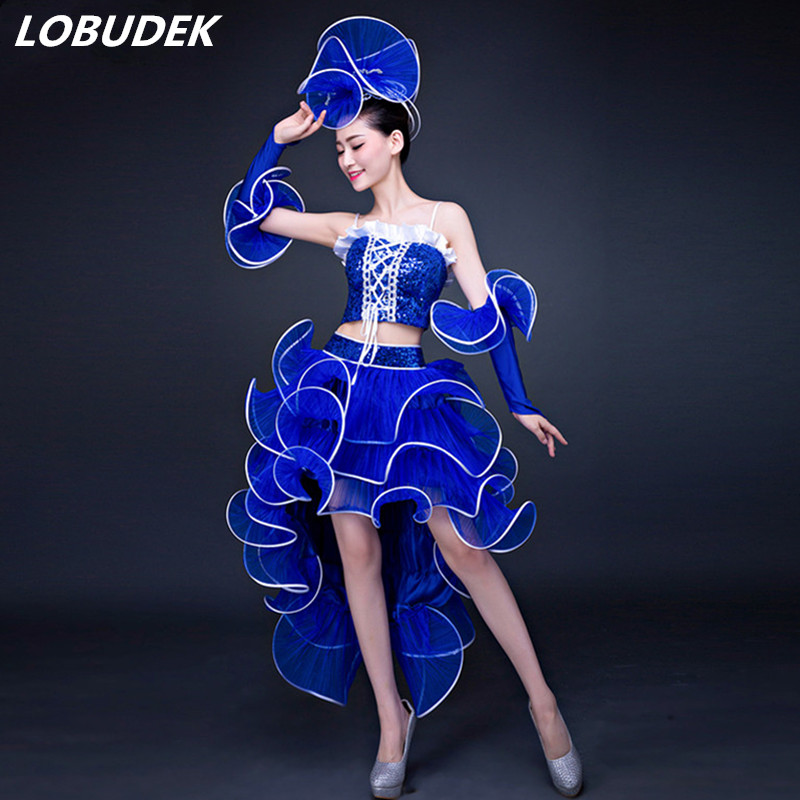 Adult Female Modern Dance Costume <font><b>Women</b></font> Sexy Jazz Performance Stage <font><b>Outfit</b></font> 3 Colors Dress Set <font><b>Festival</b></font> Party Show Dance Clothing image