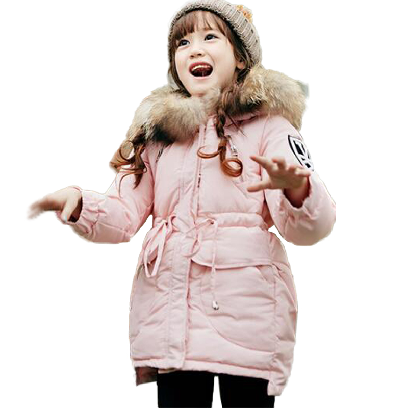 White Duck Down Girls Kids Full Sleeve Hooded Street Wear Pockets Flexible Waist Outwear 15 недорго, оригинальная цена