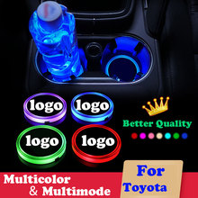 2X Car luminous coaster kubek mata dla Toyota Crown Land Cruiser Prado Reiz HighLander Prius Alphard EZ logo samochodu akcesoria oświetleniowe tanie tanio DIVERSE Akrylowe Multicolor Central control water cup mat Logo light