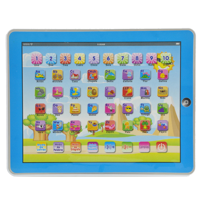 Spanish Language Children kid's <font><b>toy</b></font> comupter <font><b>laptop</b></font> computer letters Learning machine <font><b>toys</b></font> image